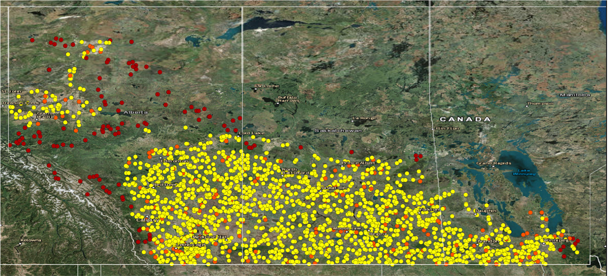 Calibrated sample sites across Western Canada